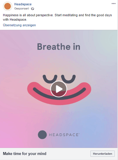 Headspace Werbung Screenshot