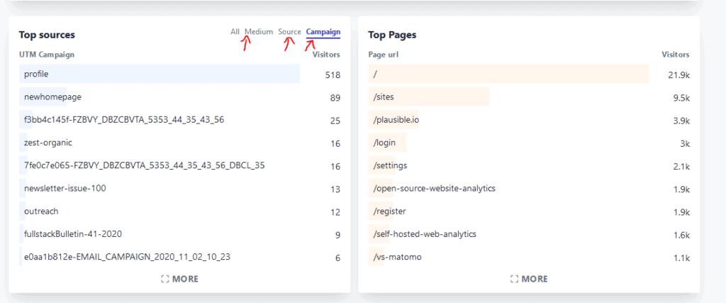 Screenshot Nutzung der utm Parameter in Plausible Analytics