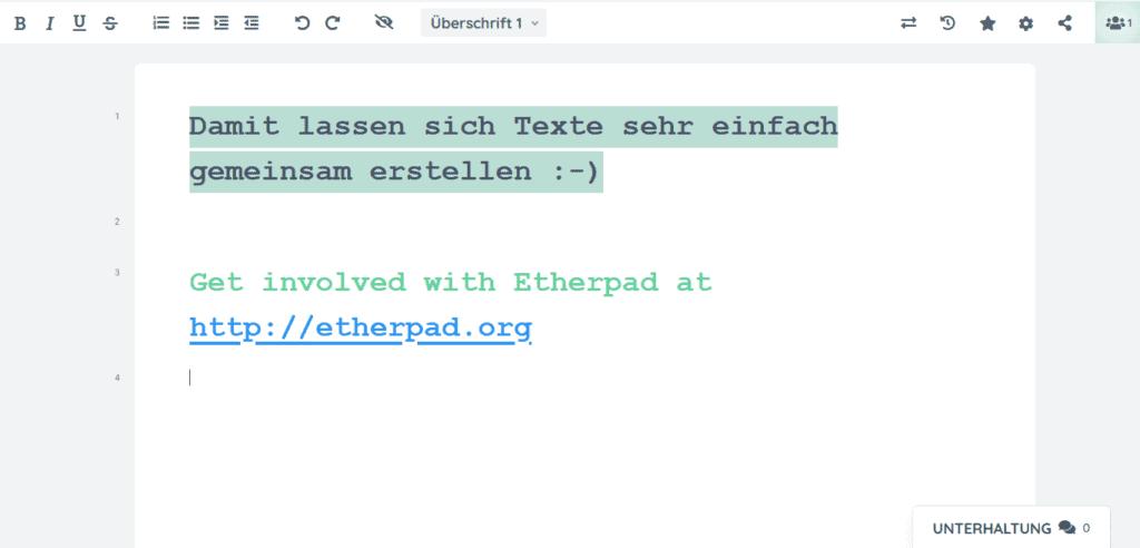 Etherpad als nachhaltige Alternative zu Google Doc und Microsoft Word