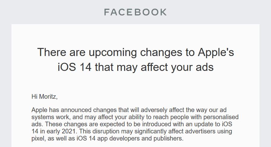 Screenshot einer Email von Facebook an mich über die Änderungen durch iOS 14