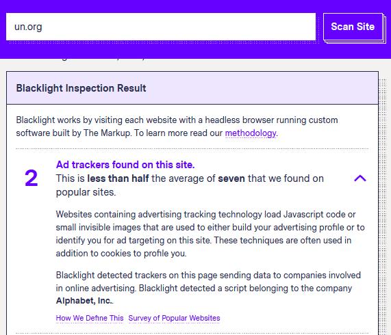 Ergebnis von Blacklight für un.org